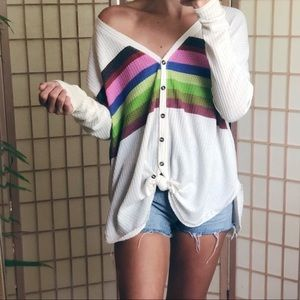 UO Henley waffle knit tie front rainbow ivory top